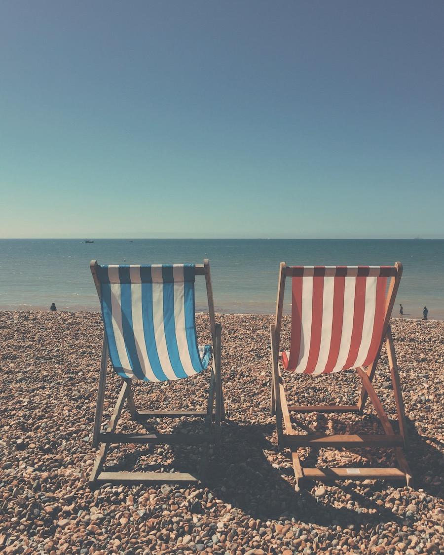 brighton beach empty deckchairs