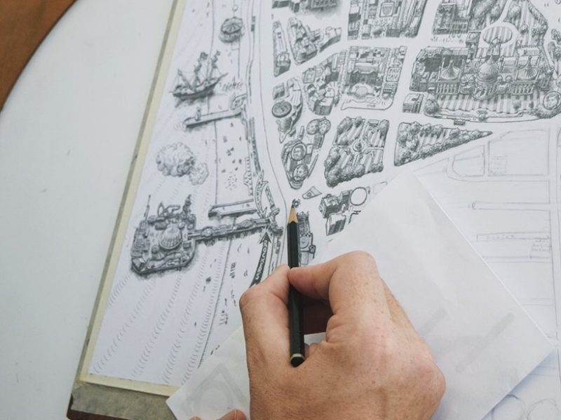 brighton map print illustration black and white