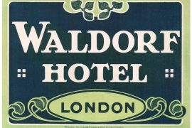 waldorf hotel luggage label