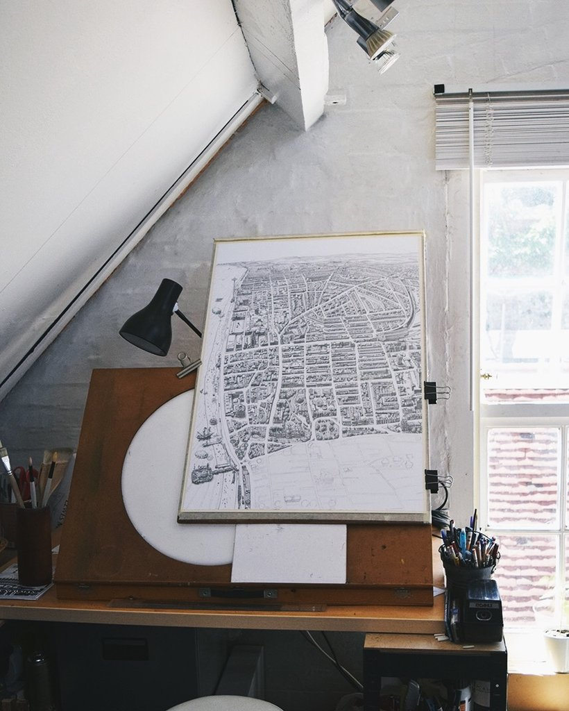 brighton map print hand drawn