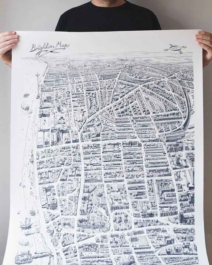 brighton map print malcolm davies