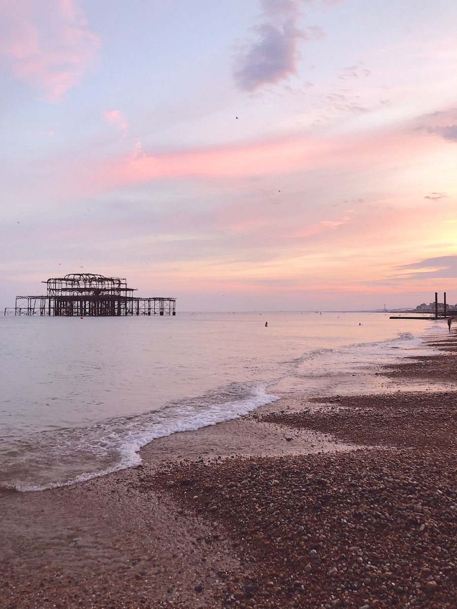 sunset over the west pier brighton