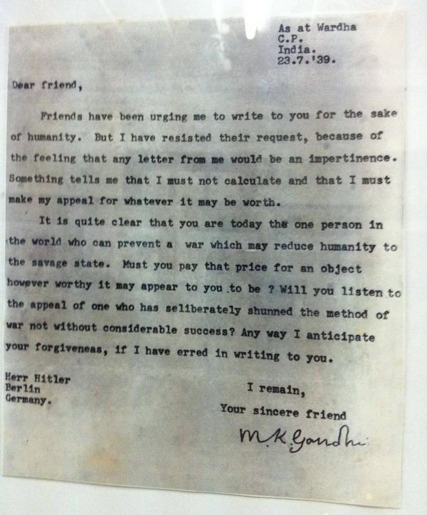 ghandi's letter to adolf hitler